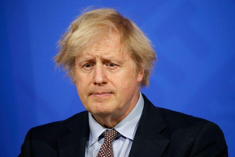 Boris Johnson tijdens een persconferentie over het coronavirus in Londen, 29 maart. Beeld AP