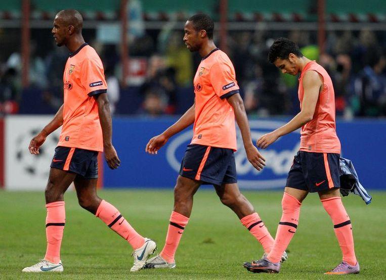 FC Barcelona druipt af. Ondermeer Xavi weet met zijn ontgoocheling geen blijf.