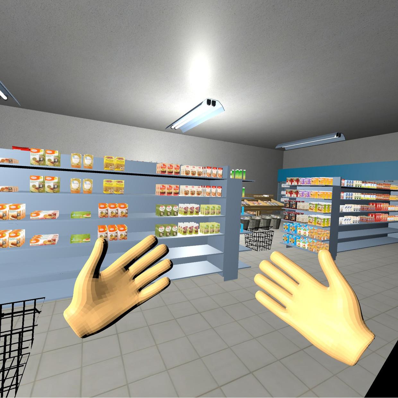 Een afbeelding van wat iemand in de VR-bril ziet in de VirtuMart. Beeld rv