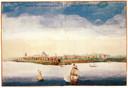 Schilderij van NieuwAmsterdam in 1648. Bij de Vrede van Breda in 1667 geruild voor Suriname.