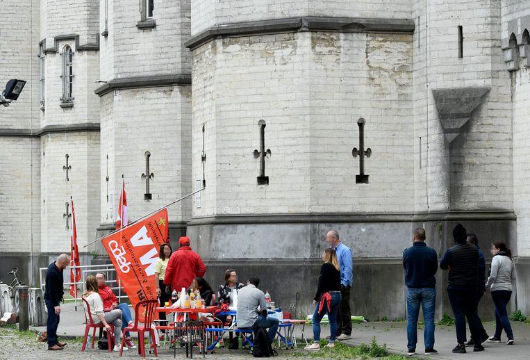 Beeld van de staking van de cipiers van de gevangenis van Vorst   Beeld Photo News
