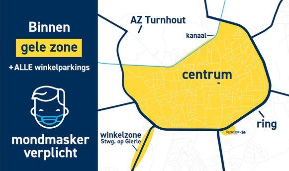 Binnen de gele zone zijn mondmaskers verplicht.