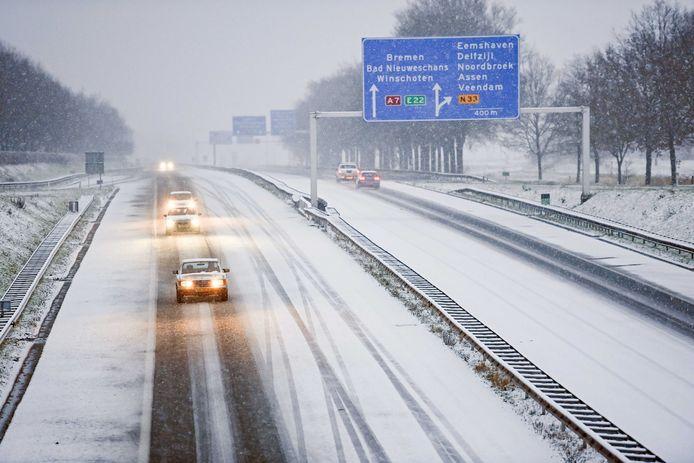 Ook vorige week viel er al een laagje sneeuw in Groningen.