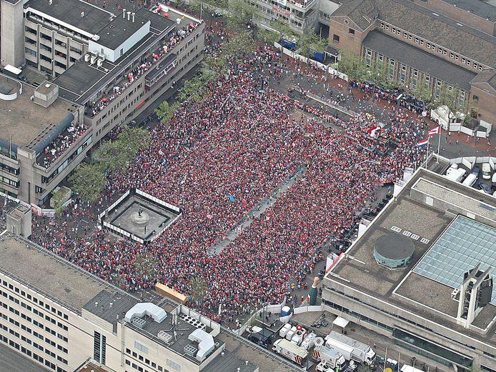 Eindhoven, het Stadhuisplein bij het kampioensfeest van PSV in 2016.