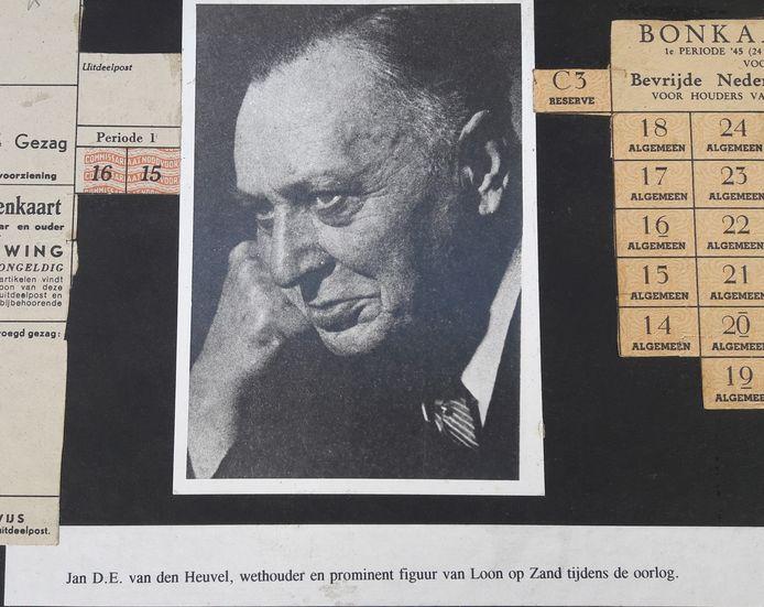 Deze foto van wethouder en oud-voorzitter Jan van den Heuvel van Koninklijke Sophia's Vereeniging is te zien in het Museum 40-45 aan de Dr. van Kesselstraat in Loon op Zand.