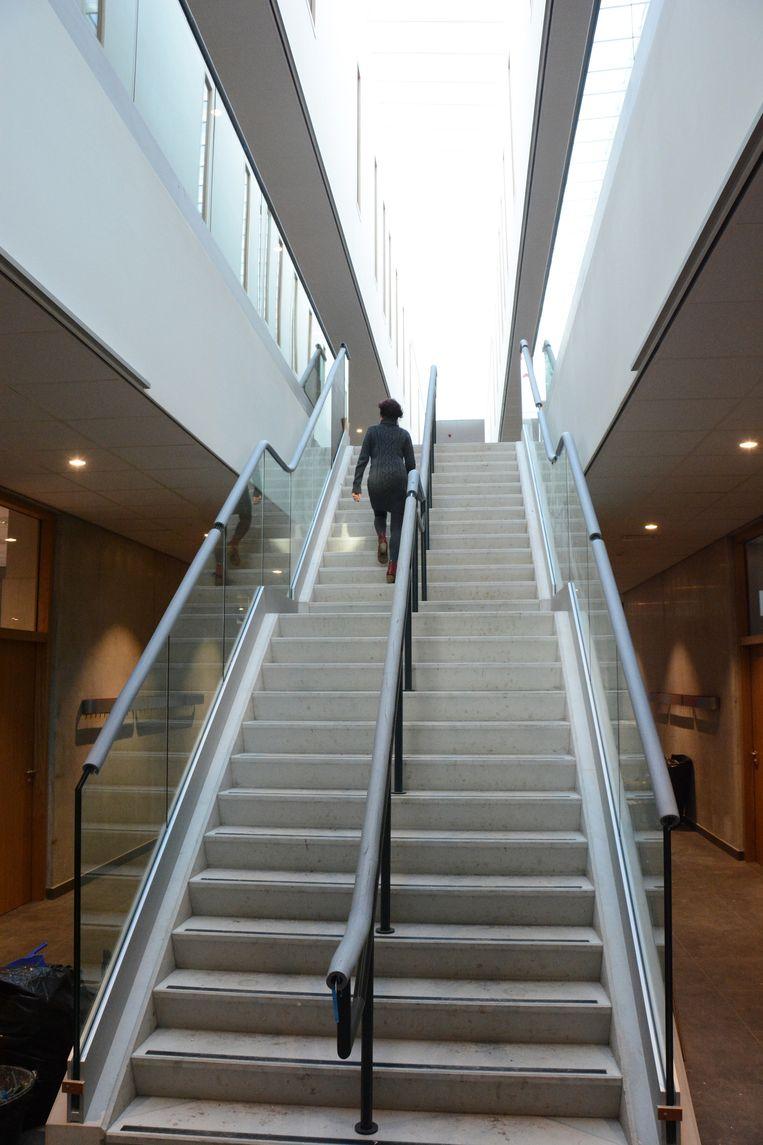 De grote centrale trappenpartij die zich uitstrekt over drie verdiepingen doet de leerlingen denken aan een shoppingcenter.