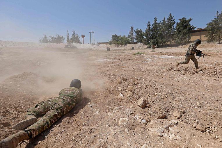 Syrische troepen bereiden zich voor op het offensief op Idlib.  Beeld AFP