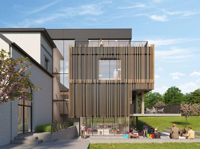 Een 3D-beeld van hoe het landhuis de Viron in Sint-Pieters-Leeuw er na de renovatie zal uitzien. Een zicht op de bijbouw.
