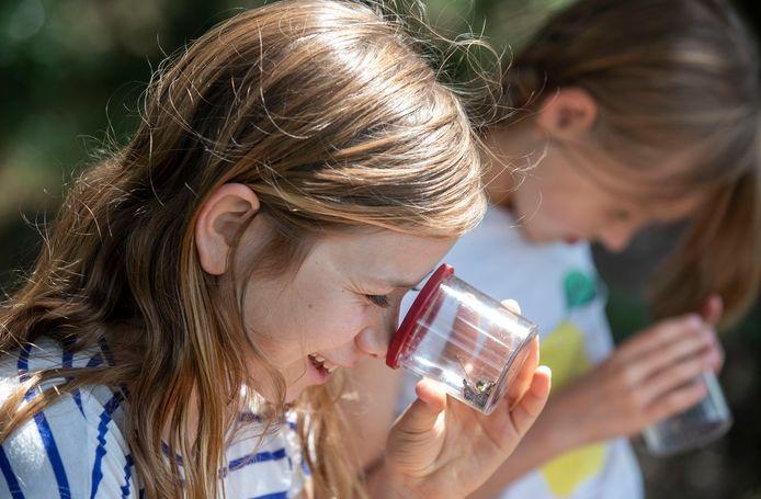 Kinderen onderzoeken op een speciaal Klompenad voor kinderen in de omgeving van Wageningen. Het is de eerste in Gelderland.