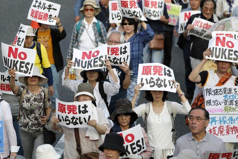 Demonstratie in Tokyo tegen het gebruik van kernenergie. Beeld anp