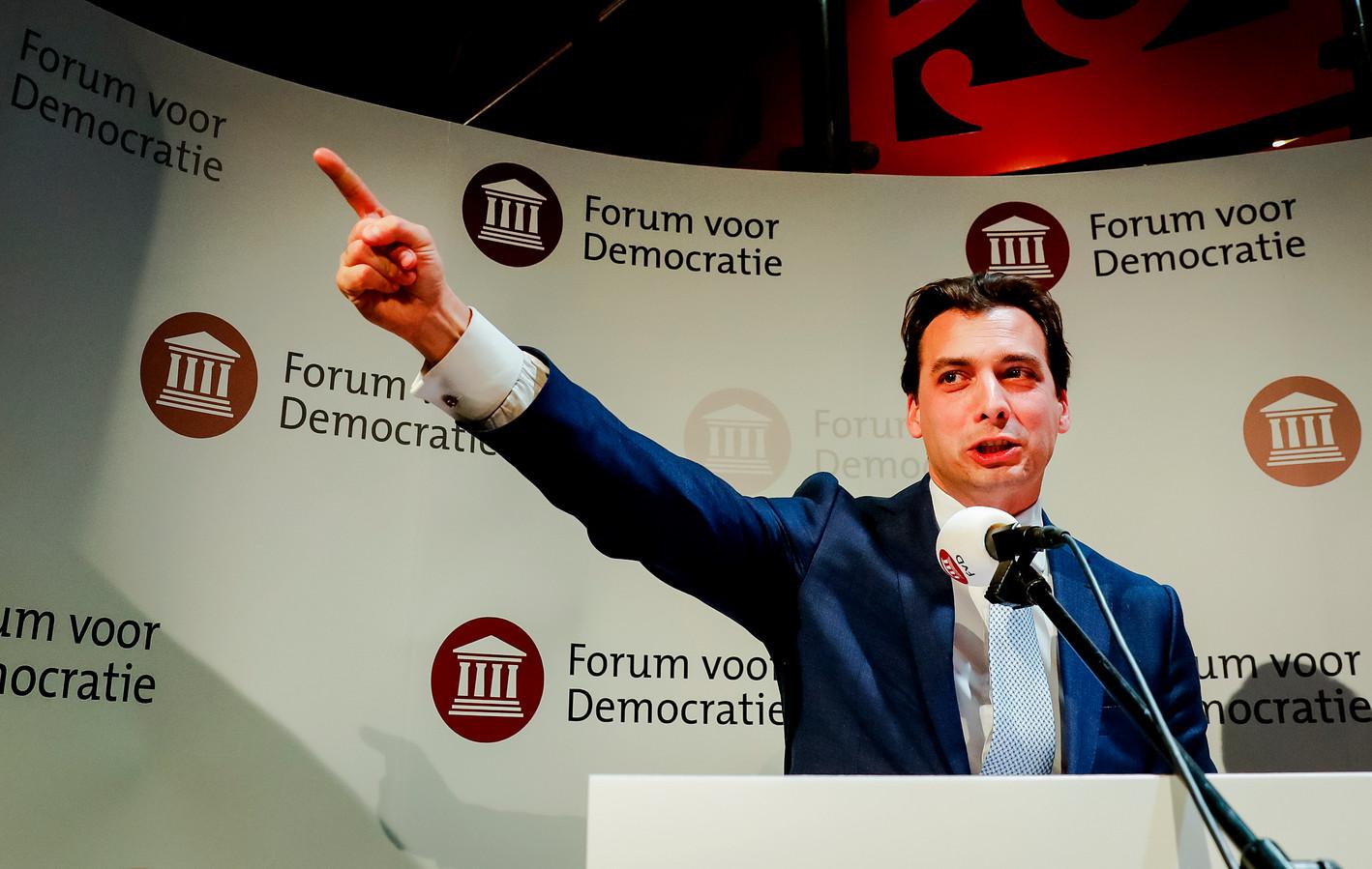 Lijsttrekker Thierry Baudet van Forum voor Democratie (FvD) tijdens de uitslagenavond van de Provinciale Statenverkiezingen en de waterschapsverkiezingen.