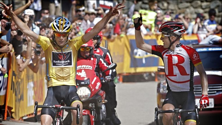 Christopher Horner (links) and Levi Leipheimer (rechts) Beeld PHOTO_NEWS