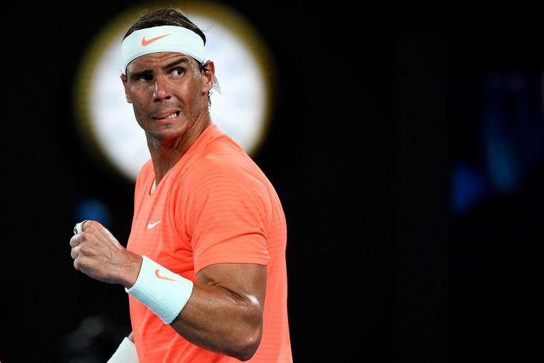 Rafael Nadal op de Australian Open.  Beeld AFP