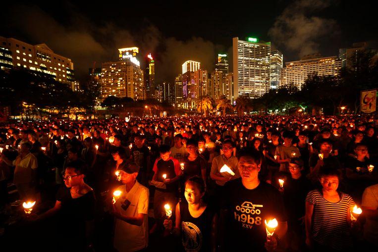 De wake in het Victoriapark was dertig jaar lang de grootste herdenking van het '4 juni incident'.  Beeld AP