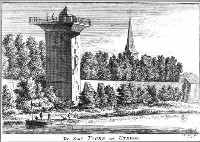 De tot sterrenwacht verbouwde Smeetoren, met rechts de toren van de Geertekerk. Prent van Hendrik Spilman naar een tekening van Cornelis Pronk uit 1730.