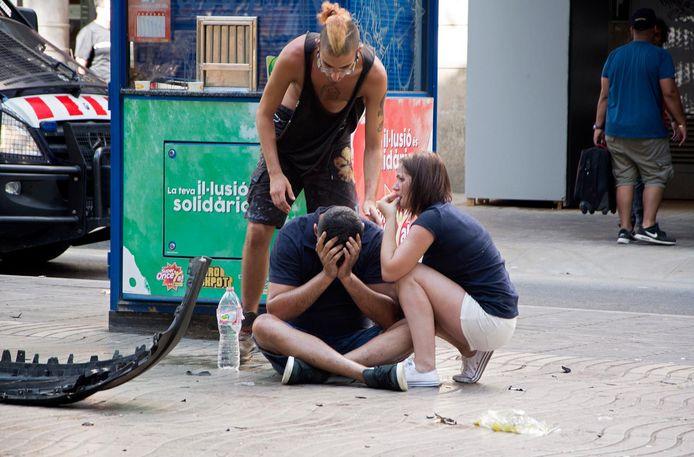 Ontzetting na de aanslag op de Ramblas in Barcelona, 17 augustus 2017.