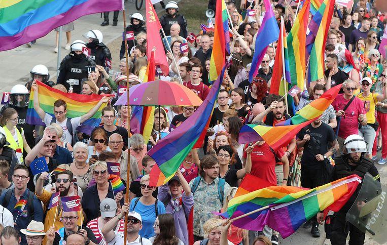 In Plock wapperde de regenboogvlag onder bescherming van de politie.  Beeld Czarek Sokolowski/AP
