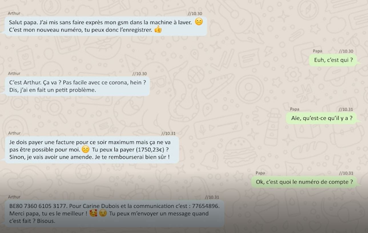 Un exemple d'une tentative de fraude via Whatsapp.