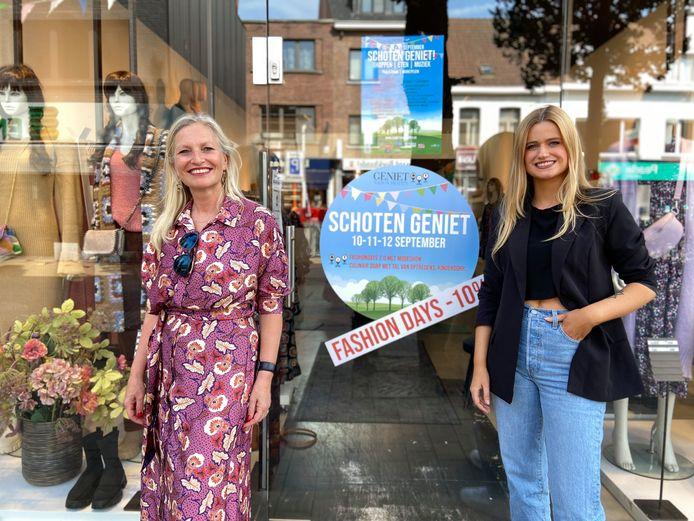 Schoten maakt zich op voor 'Schoten Geniet!'. Links: Véronique d'Exelle (schepen voor Lokale Economie) en Silke De Backer (voorzitter lokale ondernemersvereniging)
