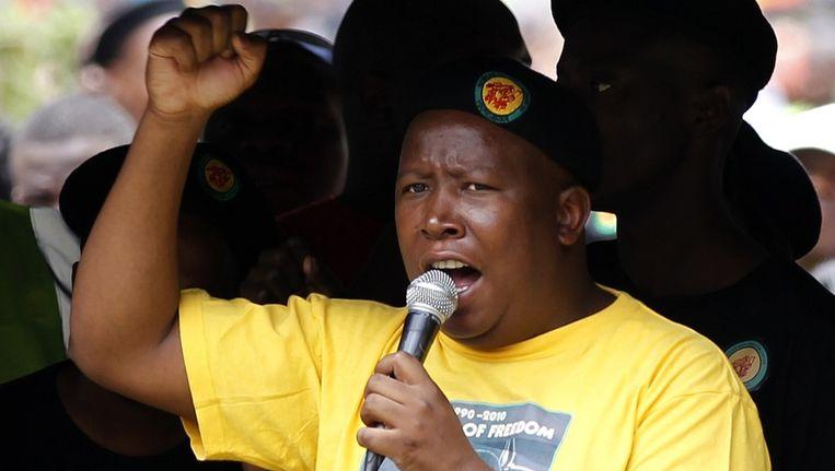 Julius Malema op een demonstratie in Johannesburg. Beeld reuters