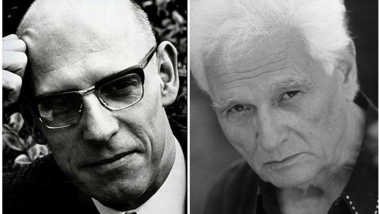 Michel Foucault en Jacques Derrida. Beeld belga