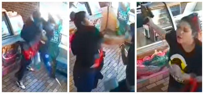 Beelden uit de bewakingsvideo. Subway-medewerkster Araceli Sotelo kan de overvaller ontwapenen en slaat hem met de revolver.