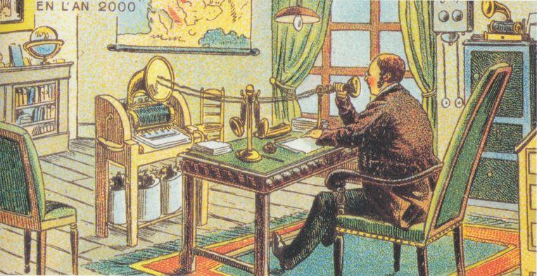 Prent uit 1910 over hoe het (tele)werk er in het jaar 2000 zou uitzien. Beeld RV