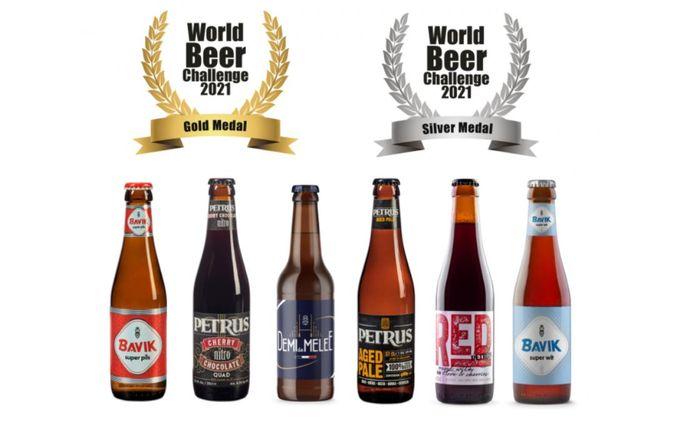 Drie keer goud en drie keer zilver, de zes winnende biertjes op een rij