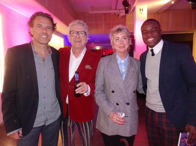 Jurylid Auke Kok, initiators Bob van der Burg en Marlies Bonnike, en debutant Gershwin Bonevacia. Beeld Schuim