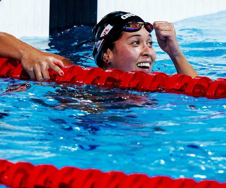 2013-08-04 BARCELONA - Ranomi Kromowidjojo na de finale van de 50 meter vrije slag op het WK zwemmen in Barcelona. ANP ROBIN VAN LONKHUIJSEN Beeld ANP