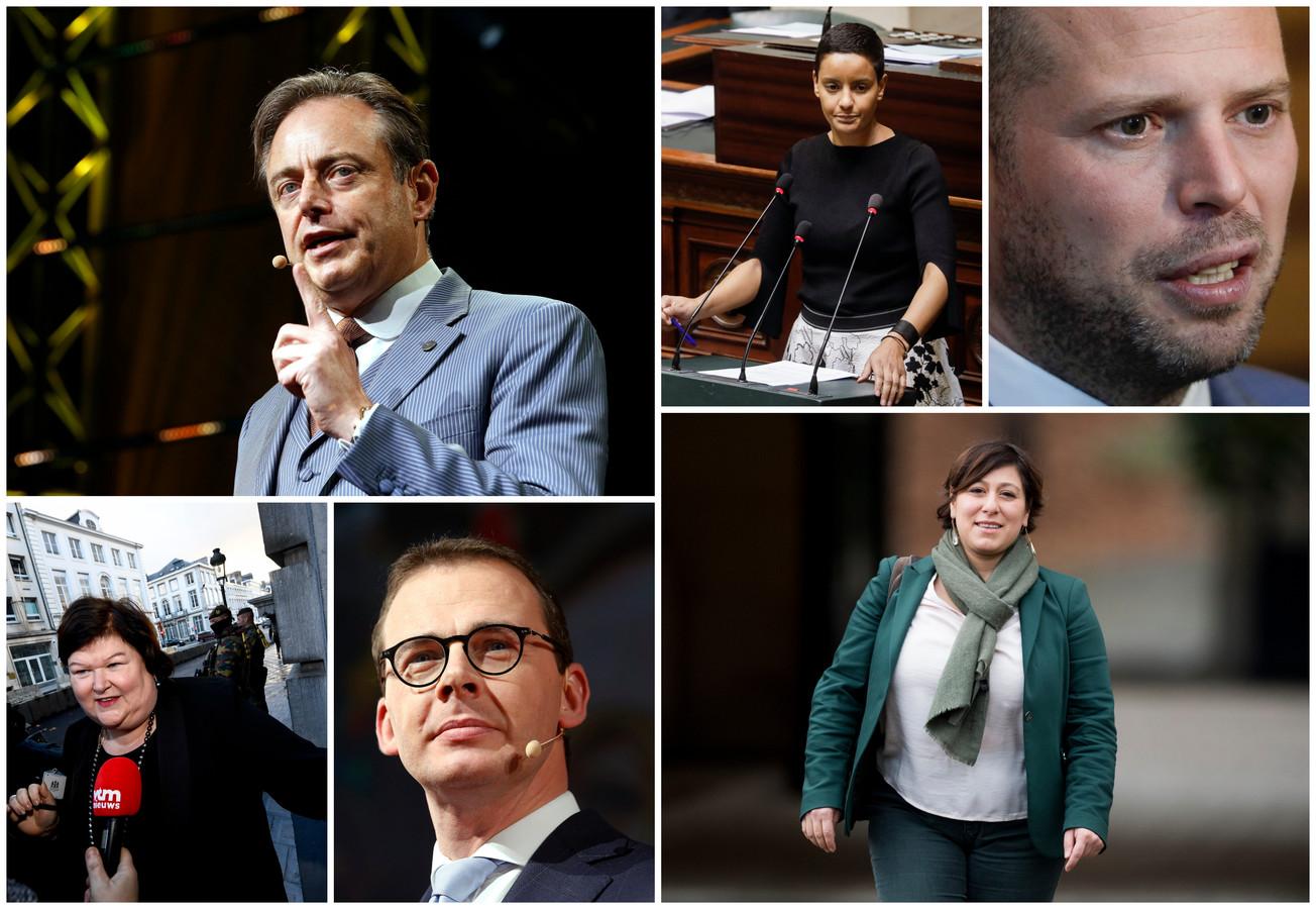 Op 26 mei nemen honderden politici het opnieuw tegen elkaar op. Vlnr. Bart De Wever (N-VA), Meryame Kitir (sp.a), Theo Francken (N-VA), Maggie De Block (Open Vld), Wouter Beke (CD&V) en Meyrem Almaci (Groen).