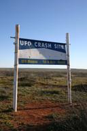 Bord bij de pplek waar de ufo neergestort zou zijn in Roswell