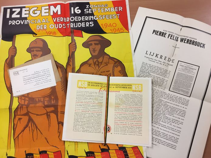Een grote affiche, het programmaboekje, enkele uitnodigingen en de lijkrede van het provinciaal verbroederingsfeest van oud-strijders in 1945.