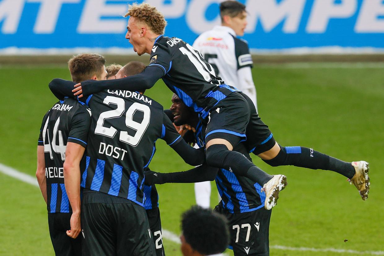 De vreugde is groot bij Club na de late winning goal. Beeld BELGA