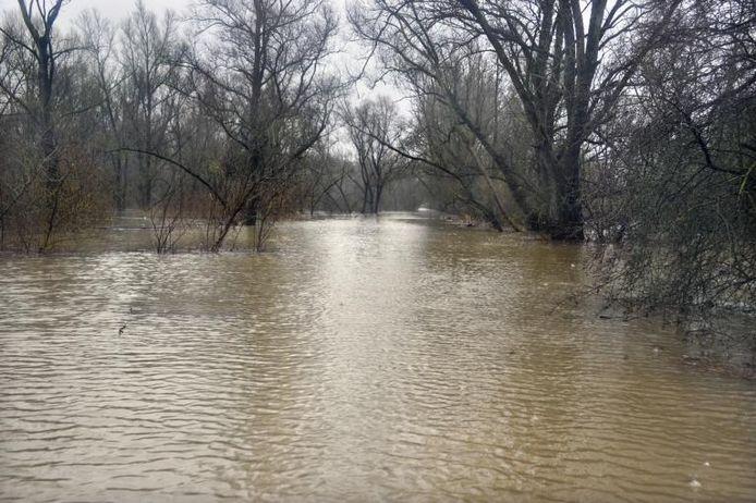 Onder deze laan van water ligt de toegangsweg naar de Millingerwaard.