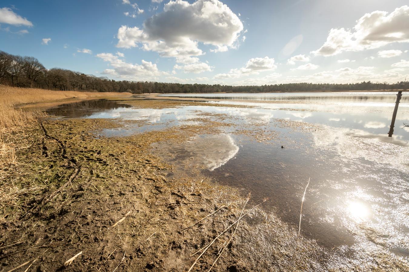 Het Grootmeer tussen Wintelre en Vessem is flink leeggelopen door slib.