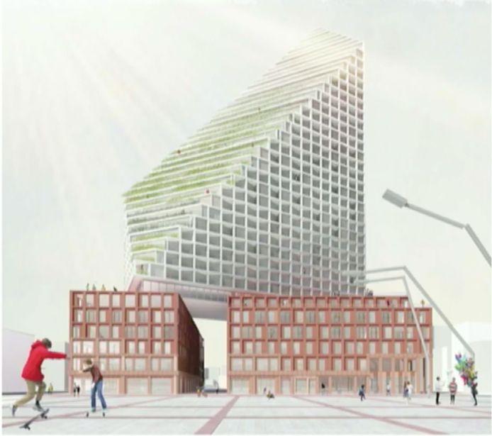 Deze schets van een nieuwbouwplan voor de noordwand van het Stadhuisplein (eigenaar GEVA BV) in Eindhoven werd getoond door supervisor Winy Maas.