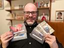 David ging door zijn archief en liet kaartjes drukken van de meest in het oog springende exemplaren.