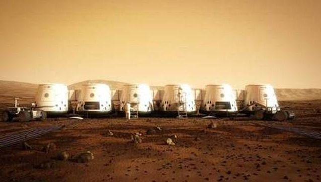 Een impressie van hoe het dorp op de rode planeet er in 2025 zou moeten uitzien.