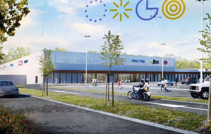 Ring Shopping in het nieuw: tegen de gevel aan de kant van Albert Heijn komt een overdekte passerelle voor voetgangers.