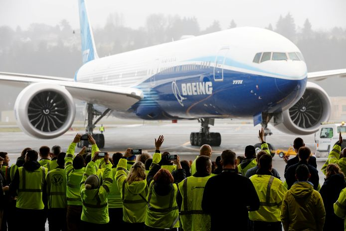 Een Boeing 777X na een testvlucht in januari in Seattle, Washington.