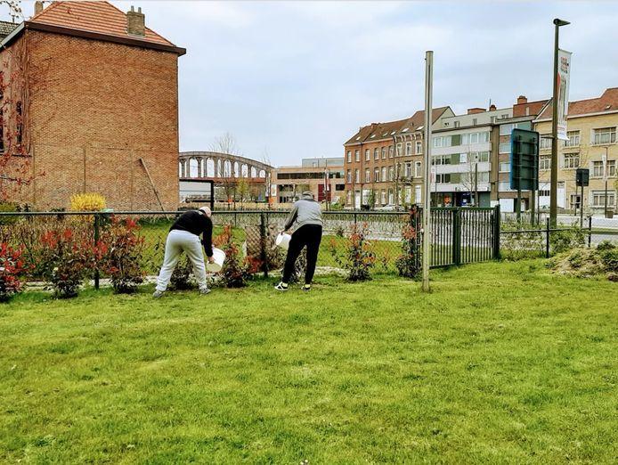 Twee bewoners van het Mechelse transitiehuis aan de slag in de tuin van het Hof van Egmont.