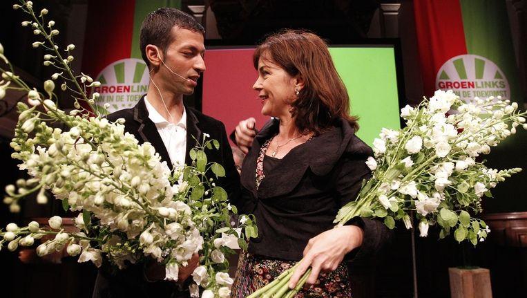 Jolande Sap en Tofik Dibi na afloop van hun debat om het leiderschap van GroenLinks. Beeld anp