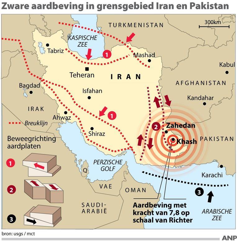2013-04-16 Aardbeving Iran Pakistan. FORMAAT: 100 x 100 mm. ANP INFOGRAPHICS Beeld Infografieken Nederland