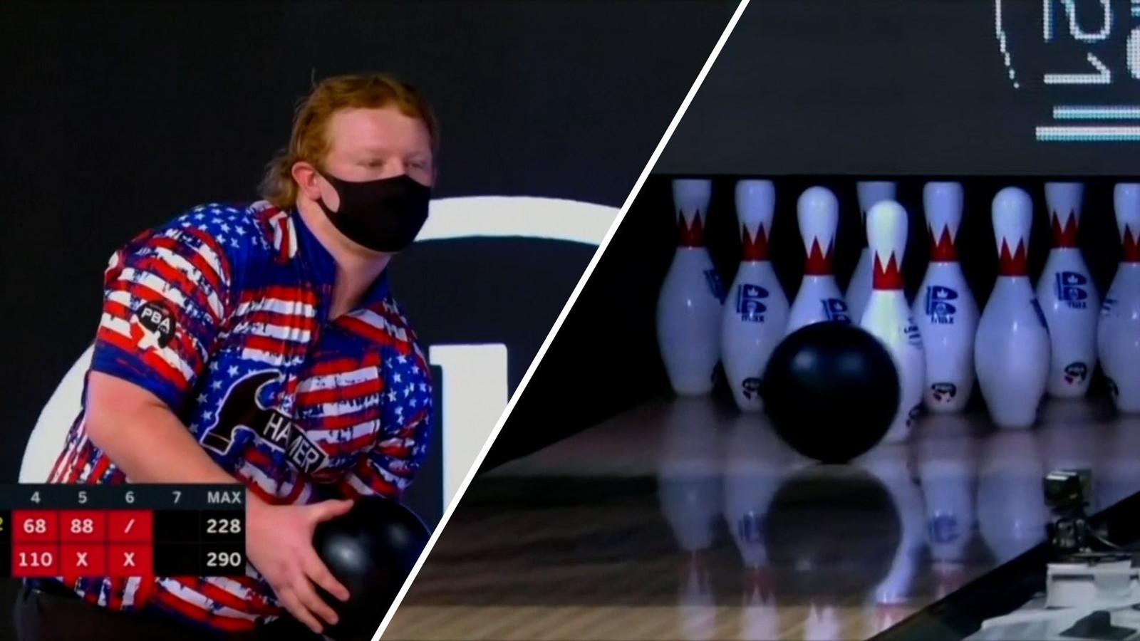 Andy Neuer op weg naar zijn unieke bowlingprestatie.