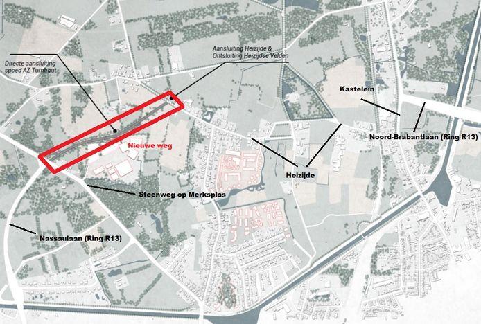 De nieuwe weg is aangeduid in het rood. Die zou van de Steenweg op Merksplas tot aan Heizijde lopen, met mogelijkheid tot aansluiting op de ziekenhuiscampus