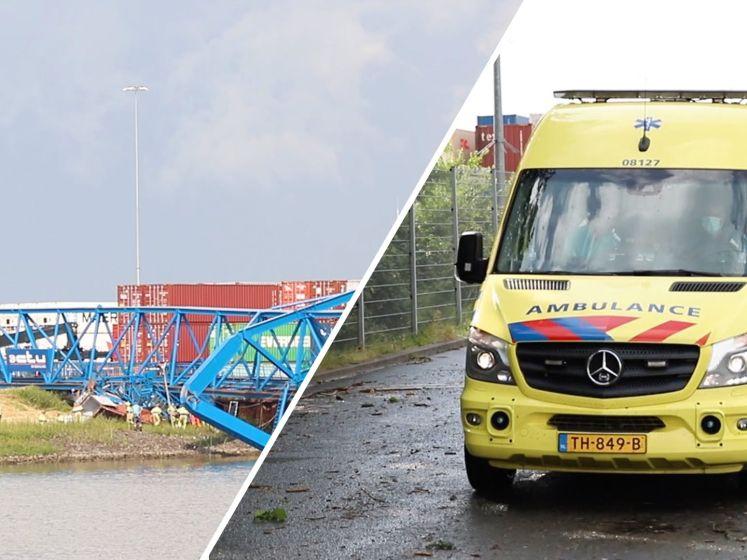 Flinke stormschade in Tiel, containerkraan ingestort