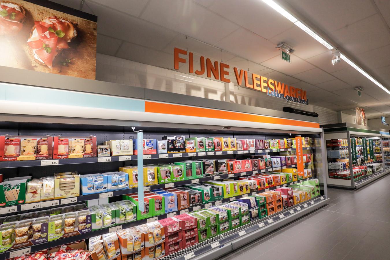 Vleeswaren bij een Belgische vestiging van Aldi.
