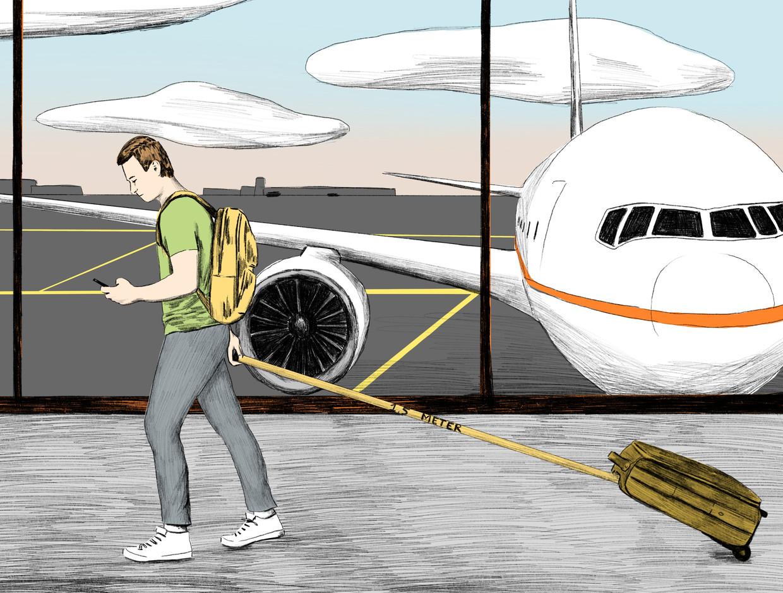 Vliegen na corona: een voor een boarden, lege stoelen en beperkt eten aan boord.  Beeld Jip van den Toorn