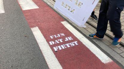 Fietsersbond vraagt om handje te helpen: schrijf deze boodschap op fietspaden in Tielt